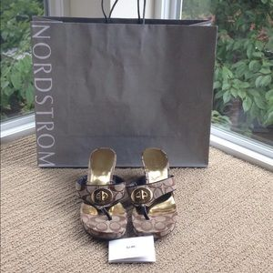 Coach Wedge Sandals With Bag And Care Card!